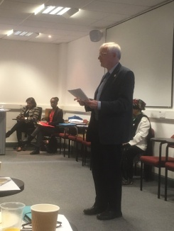 Mr. Trevor Evans- Chair UNA-Harpenden addressing the audience