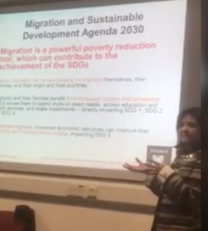 Shaista Khan talking on Empowering Women Migrants for Sustainable Development